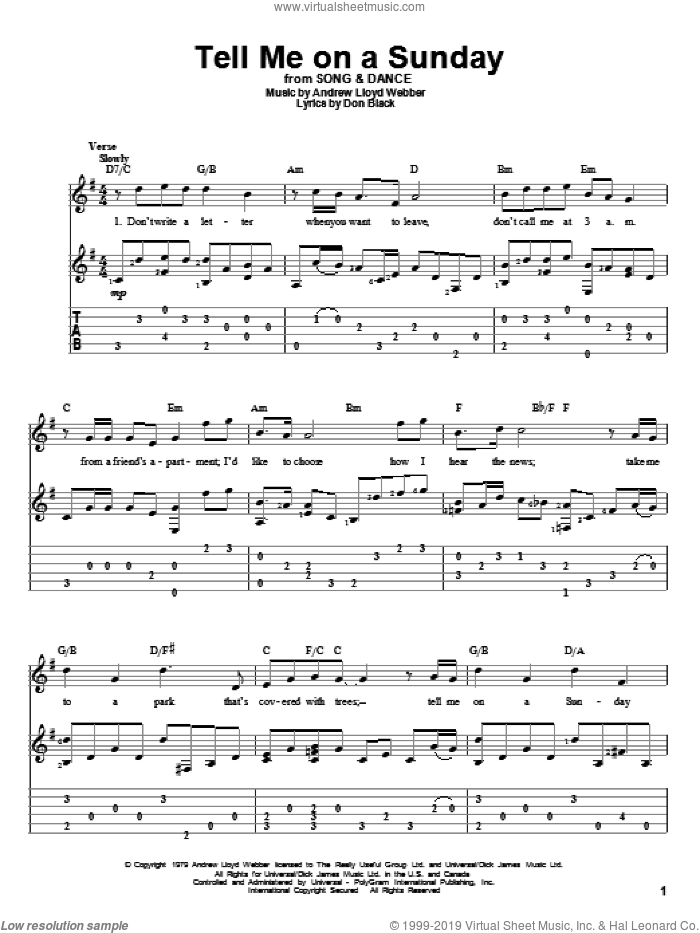 Tell Me On A Sunday sheet music for guitar solo by Don Black and Andrew Lloyd Webber. Score Image Preview.