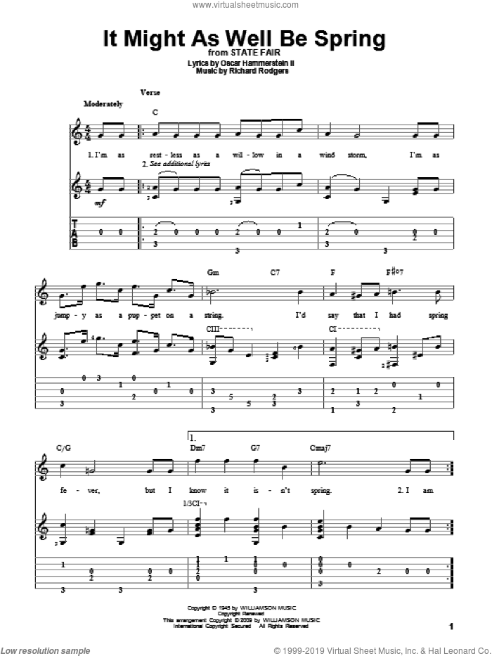 It Might As Well Be Spring sheet music for guitar solo by Rodgers & Hammerstein, State Fair (Musical), Oscar II Hammerstein and Richard Rodgers, intermediate skill level