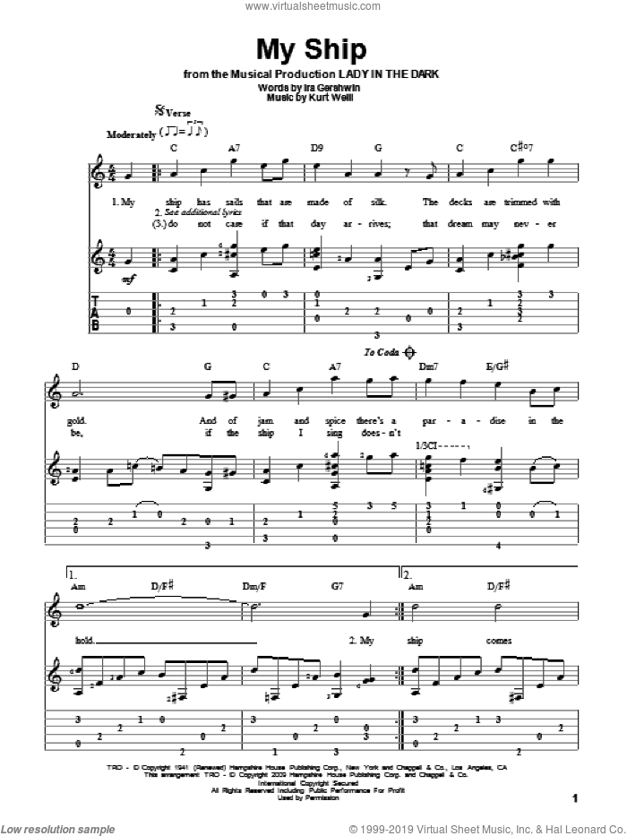 My Ship sheet music for guitar solo by Kurt Weill and Ira Gershwin, intermediate guitar. Score Image Preview.