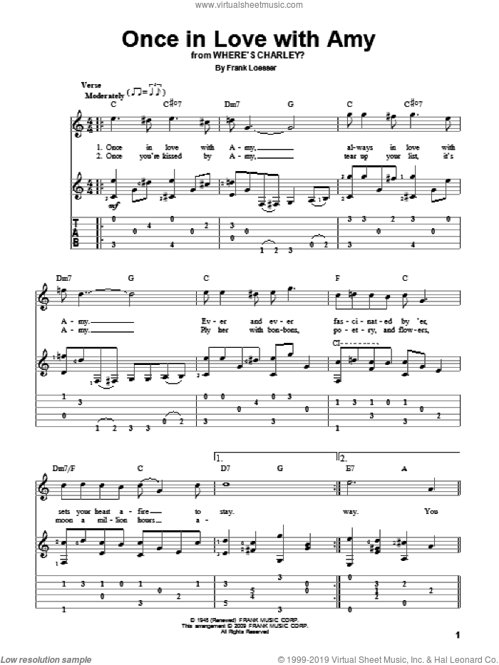 Once In Love With Amy sheet music for guitar solo by Frank Loesser, intermediate skill level