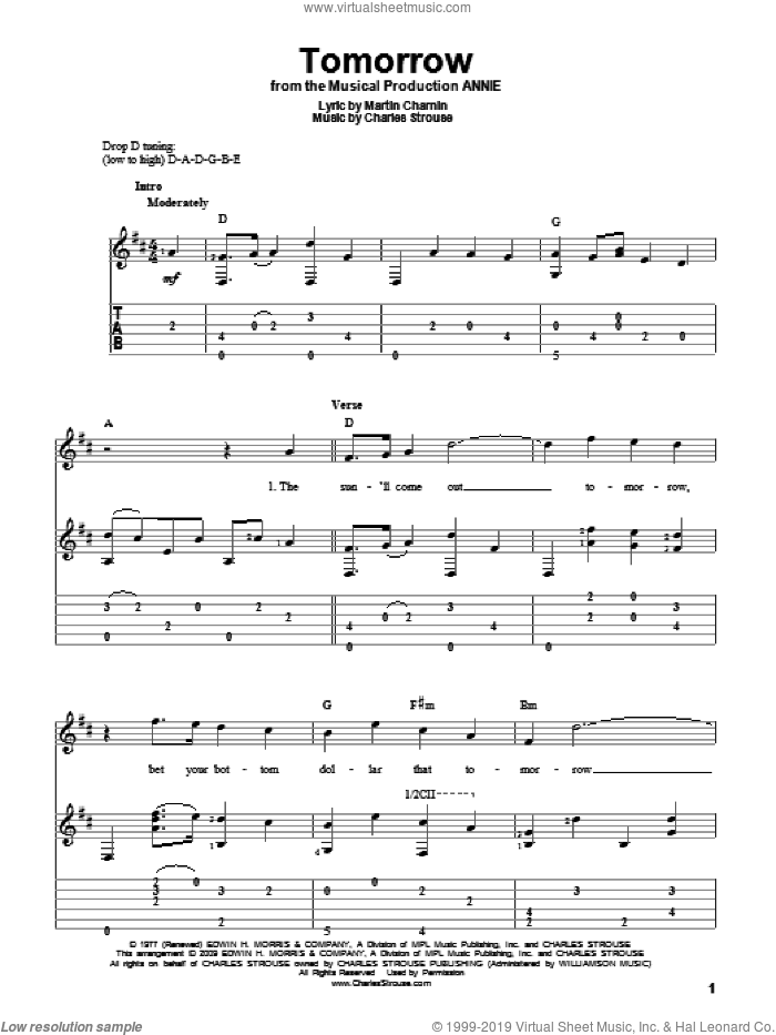 Tomorrow sheet music for guitar solo by Charles Strouse, Annie (Musical) and Martin Charnin, intermediate skill level