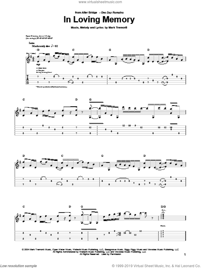 In Loving Memory sheet music for guitar (tablature) by Alter Bridge and Mark Tremonti, intermediate skill level
