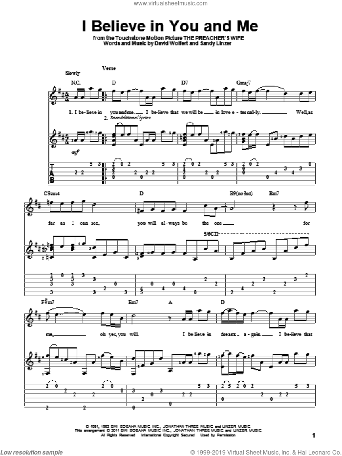 I Believe In You And Me sheet music for guitar solo by The Four Tops, Whitney Houston, David Wolfert and Sandy Linzer, wedding score, intermediate skill level