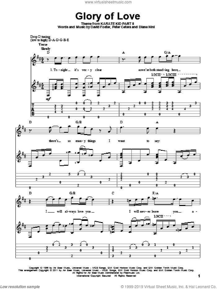 Glory Of Love sheet music for guitar solo by Peter Cetera, David Foster and Diane Nini, wedding score, intermediate skill level