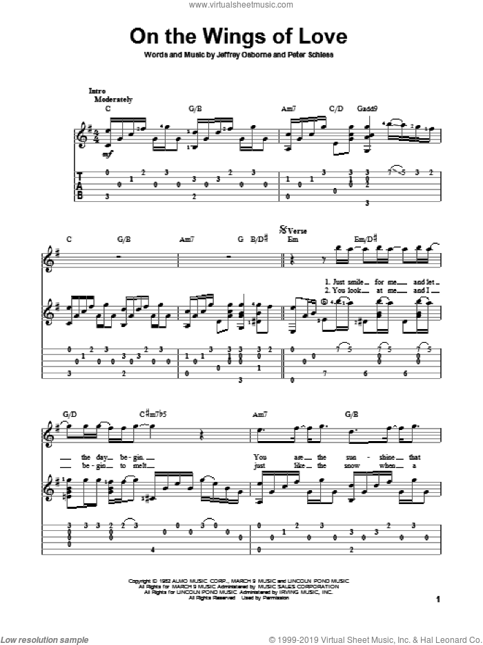 On The Wings Of Love sheet music for guitar solo by Peter Schless and Jeffrey Osborne. Score Image Preview.