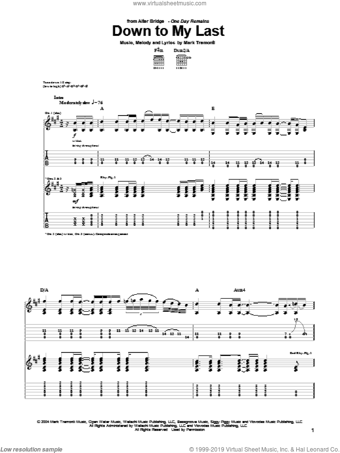 Down To My Last sheet music for guitar (tablature) by Alter Bridge and Mark Tremonti, intermediate skill level