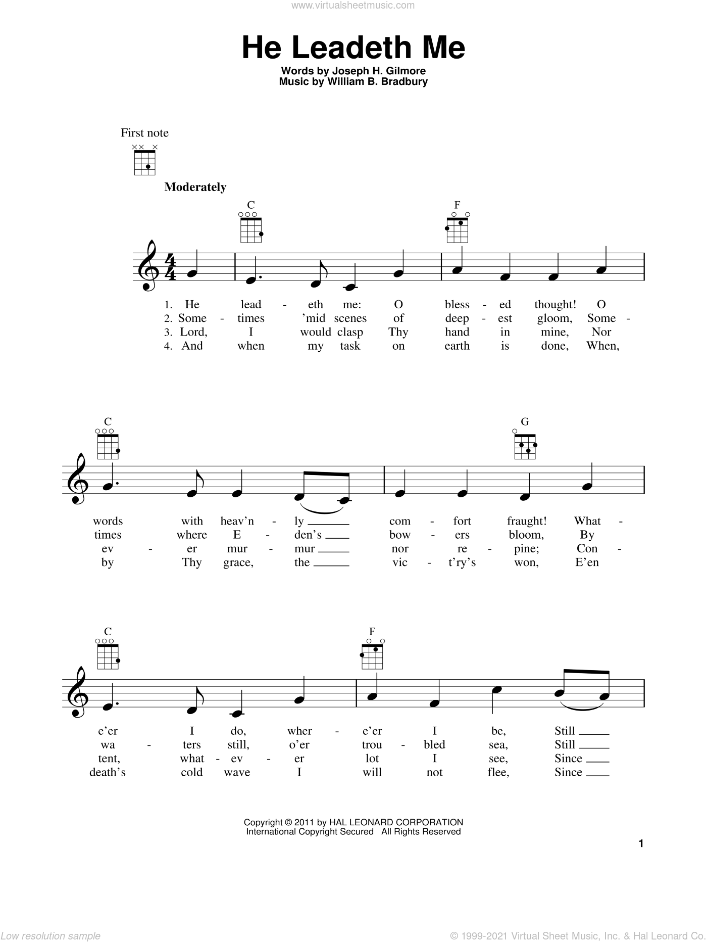 He Leadeth Me sheet music for ukulele by Joseph H. Gilmore and William B. Bradbury. Score Image Preview.