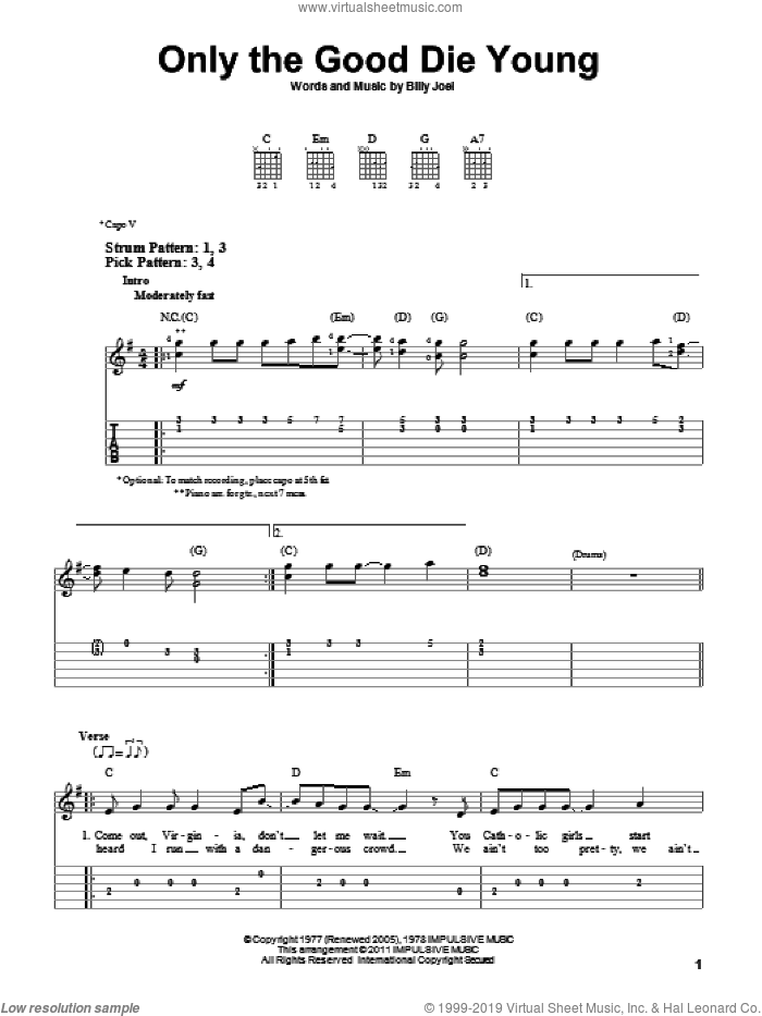 Only The Good Die Young sheet music for guitar solo (easy tablature) by Billy Joel, easy guitar (easy tablature)