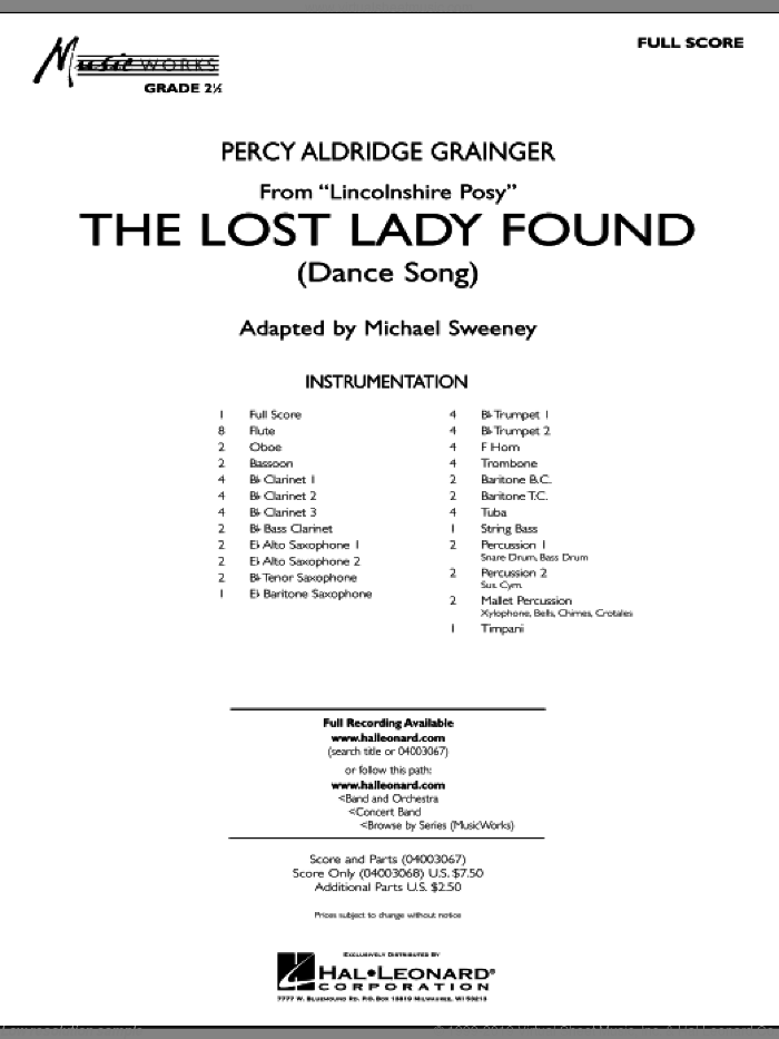 The Lost Lady Found (from 'Lincolnshire Posy') (COMPLETE) sheet music for concert band by Percy Aldridge Grainger and Michael Sweeney, classical score, intermediate skill level