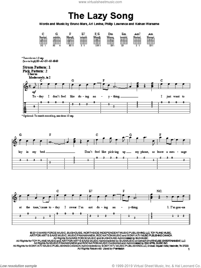 The Lazy Song sheet music for guitar solo (easy tablature) by Philip Lawrence, Ari Levine, Bruno Mars and Keinan Warsame. Score Image Preview.
