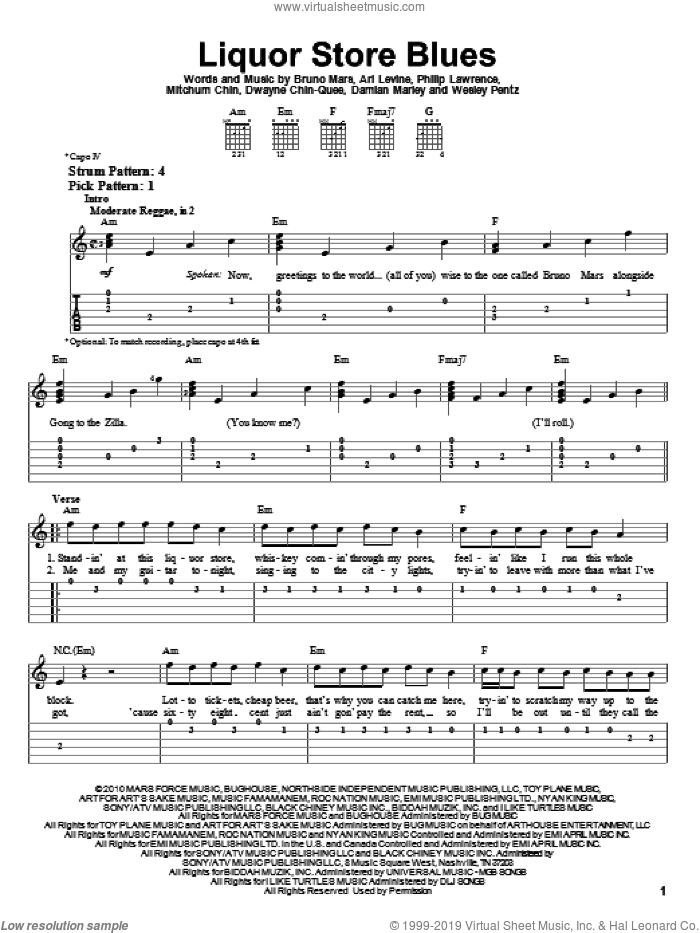 Liquor Store Blues sheet music for guitar solo (easy tablature) by Bruno Mars, Ari Levine, Damian Marley, Dwayne Chin-Quee, Mitchum Chin, Philip Lawrence and Thomas Wesley Pentz, easy guitar (easy tablature). Score Image Preview.