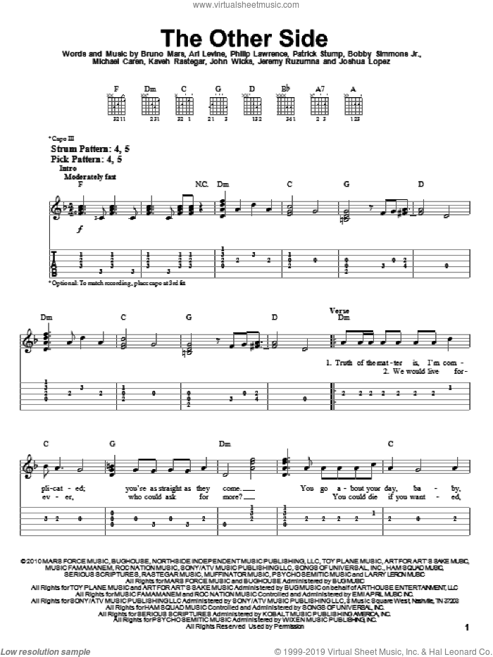The Other Side sheet music for guitar solo (easy tablature) by Bruno Mars, Ari Levine, Bobby Simmons Jr., Jeremy Ruzumna, John Wicks, Joshua Lopez, Kaveh Rastegar, Michael Caren, Patrick Stump and Philip Lawrence, easy guitar (easy tablature)