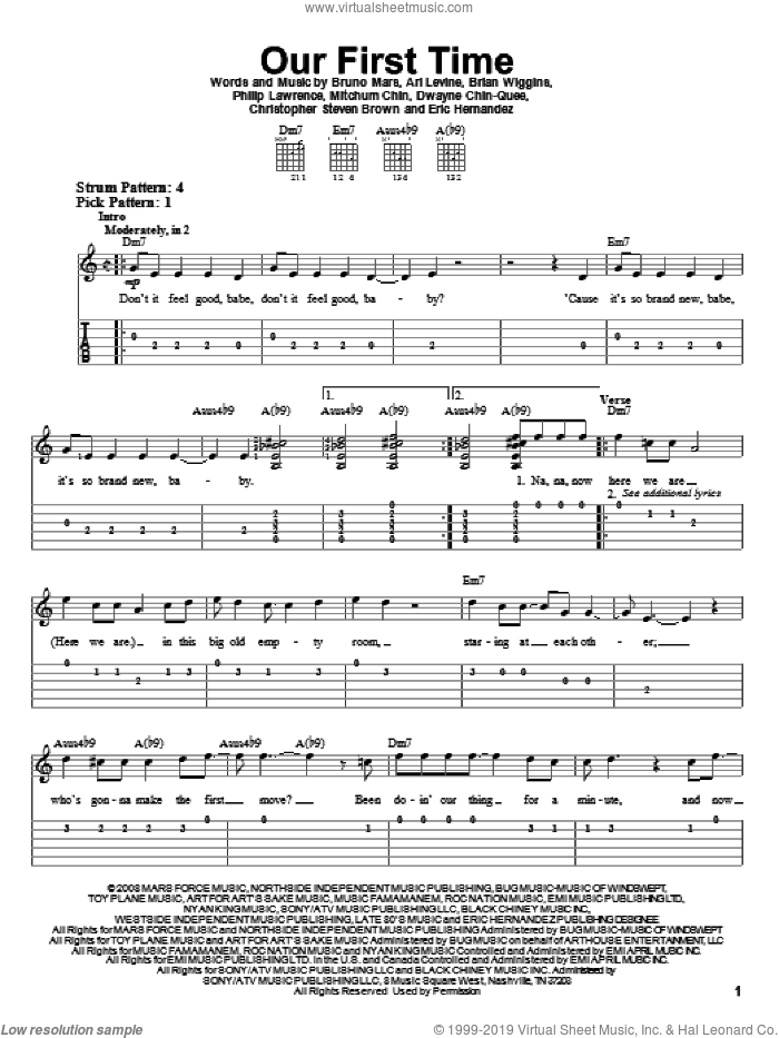 Our First Time sheet music for guitar solo (easy tablature) by Bruno Mars, Ari Levine, Brian Wiggins, Christopher Steven Brown, Dwayne Chin-Quee, Eric Hernandez, Mitchum Chin and Philip Lawrence, easy guitar (easy tablature)