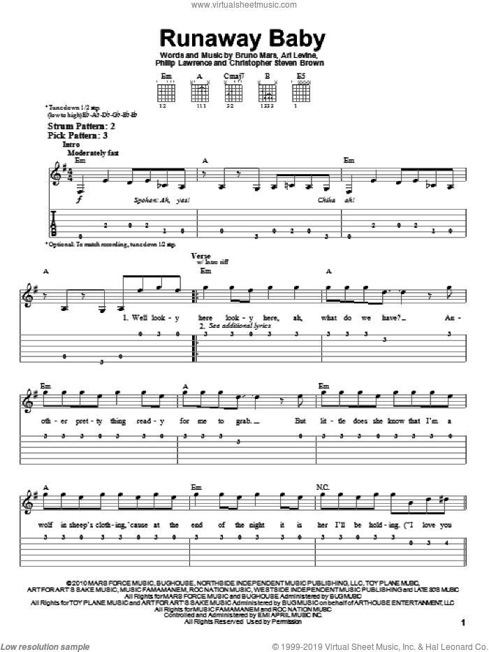 Runaway Baby sheet music for guitar solo (easy tablature) by Philip Lawrence, Ari Levine and Bruno Mars. Score Image Preview.