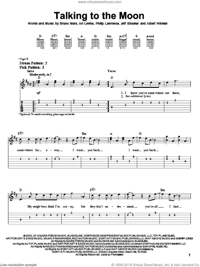 Talking To The Moon sheet music for guitar solo (easy tablature) by Bruno Mars, Albert Winkler, Ari Levine, Jeff Bhasker and Philip Lawrence, easy guitar (easy tablature)