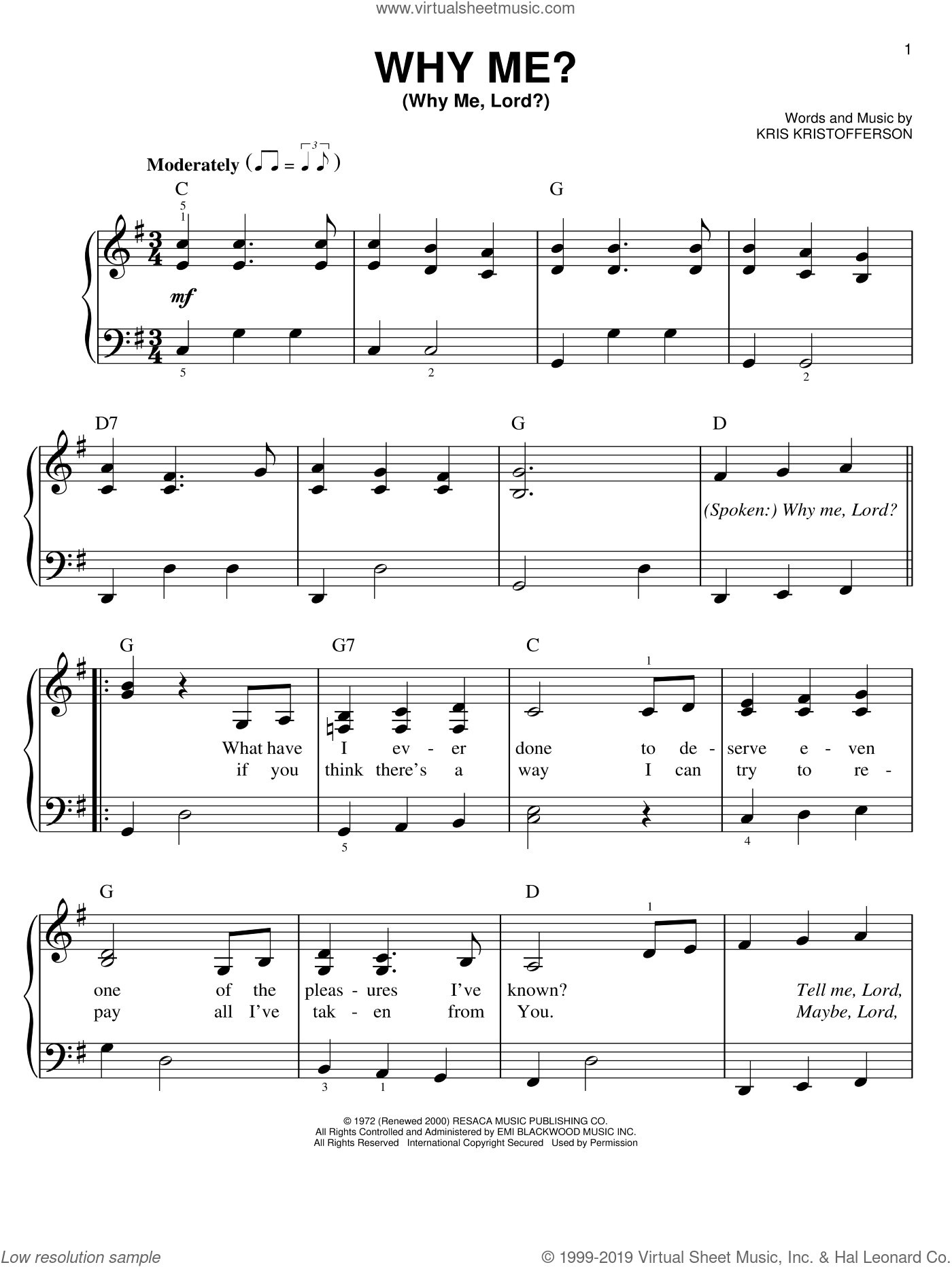 Why Me? (Why Me, Lord?) sheet music for piano solo by Kris Kristofferson and Cristy Lane, easy skill level