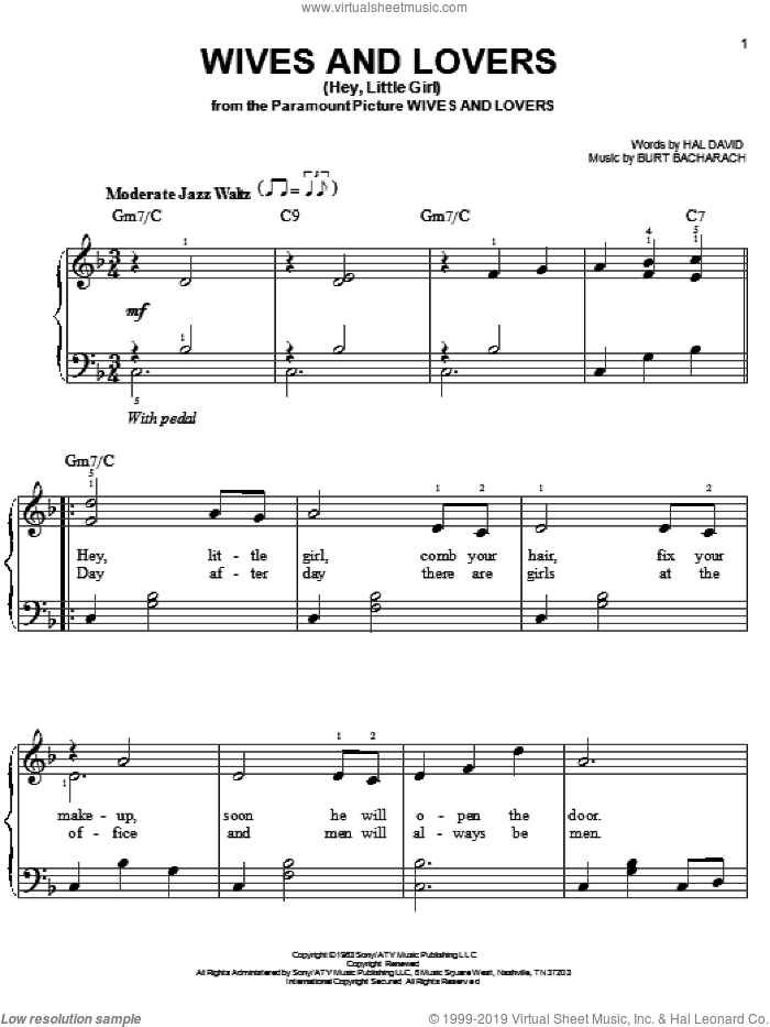 Wives And Lovers (Hey, Little Girl) sheet music for piano solo by Bacharach & David, Burt Bacharach and Hal David, easy. Score Image Preview.