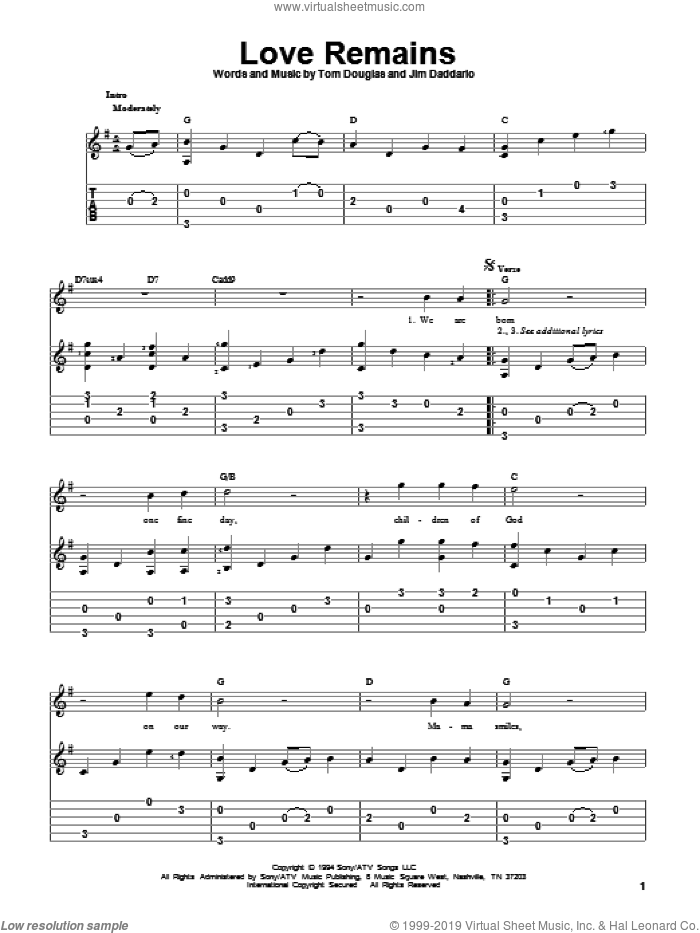 Love Remains sheet music for guitar solo by Collin Raye, Jim Daddario and Tom Douglas, wedding score, intermediate