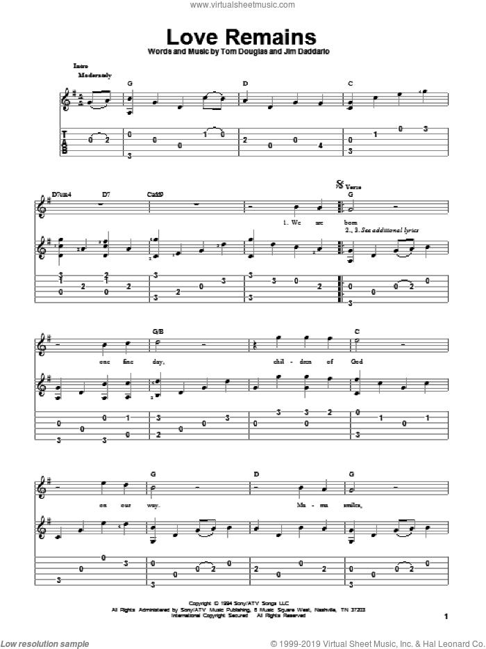 Love Remains sheet music for guitar solo by Collin Raye, Jim Daddario and Tom Douglas, wedding score, intermediate skill level