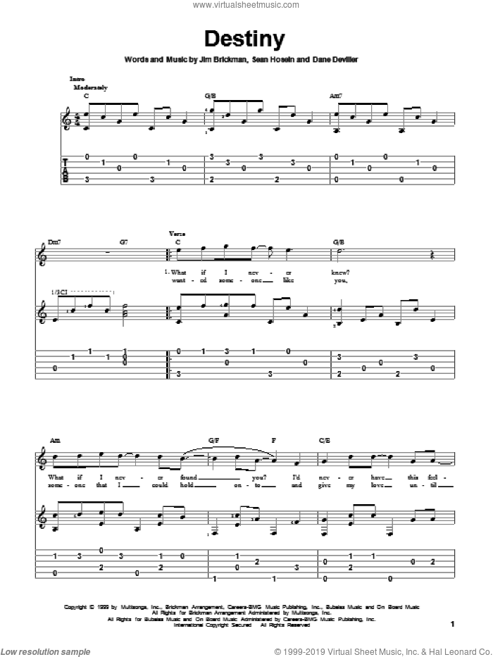 Destiny sheet music for guitar solo by Sean Hosein and Jim Brickman