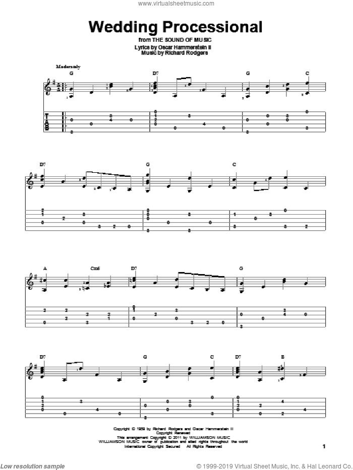 Wedding Processional (from The Sound of Music) sheet music for guitar solo by Rodgers & Hammerstein, The Sound Of Music (Musical), Oscar II Hammerstein and Richard Rodgers, wedding score, intermediate skill level