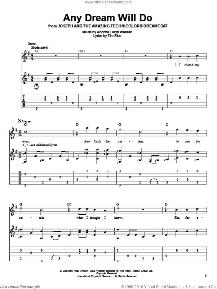 Any Dream Will Do sheet music for guitar solo by Tim Rice and Andrew Lloyd Webber
