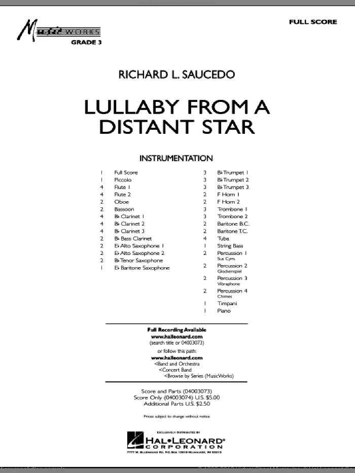 Lullaby From A Distant Star sheet music for concert band (full score) by Richard L. Saucedo