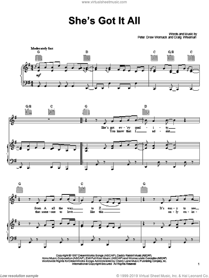 She's Got It All sheet music for voice, piano or guitar by Kenny Chesney and Craig Wiseman, intermediate voice, piano or guitar. Score Image Preview.