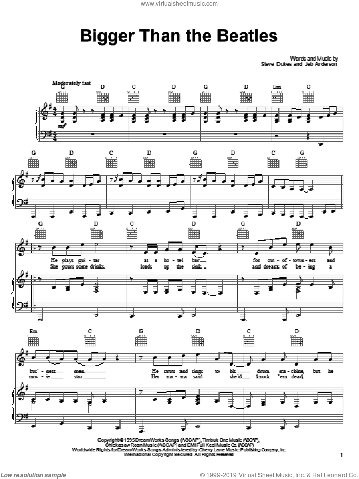 Bigger Than The Beatles sheet music for voice, piano or guitar by Steve Dukes. Score Image Preview.