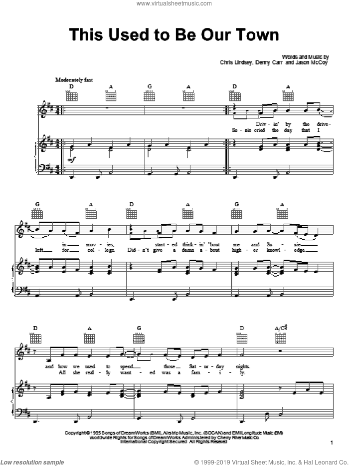 This Used To Be Our Town sheet music for voice, piano or guitar by Jason McCoy and Chris Lindsey, intermediate voice, piano or guitar. Score Image Preview.