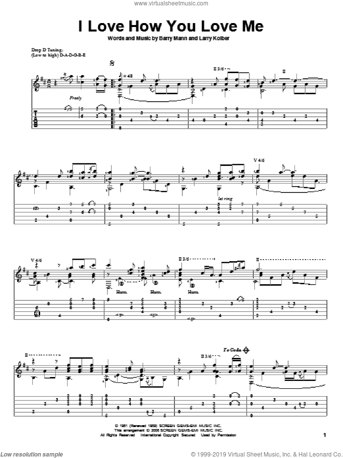 I Love How You Love Me sheet music for guitar solo by The Paris Sisters and Barry Mann. Score Image Preview.