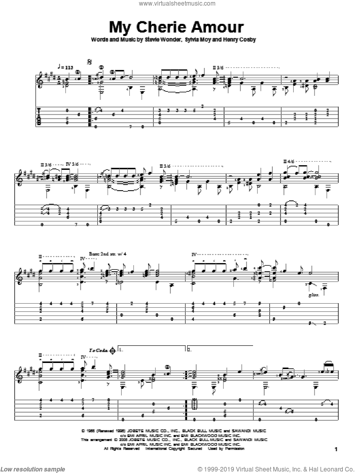 My Cherie Amour sheet music for guitar solo by Stevie Wonder, Henry Cosby and Sylvia Moy, intermediate skill level