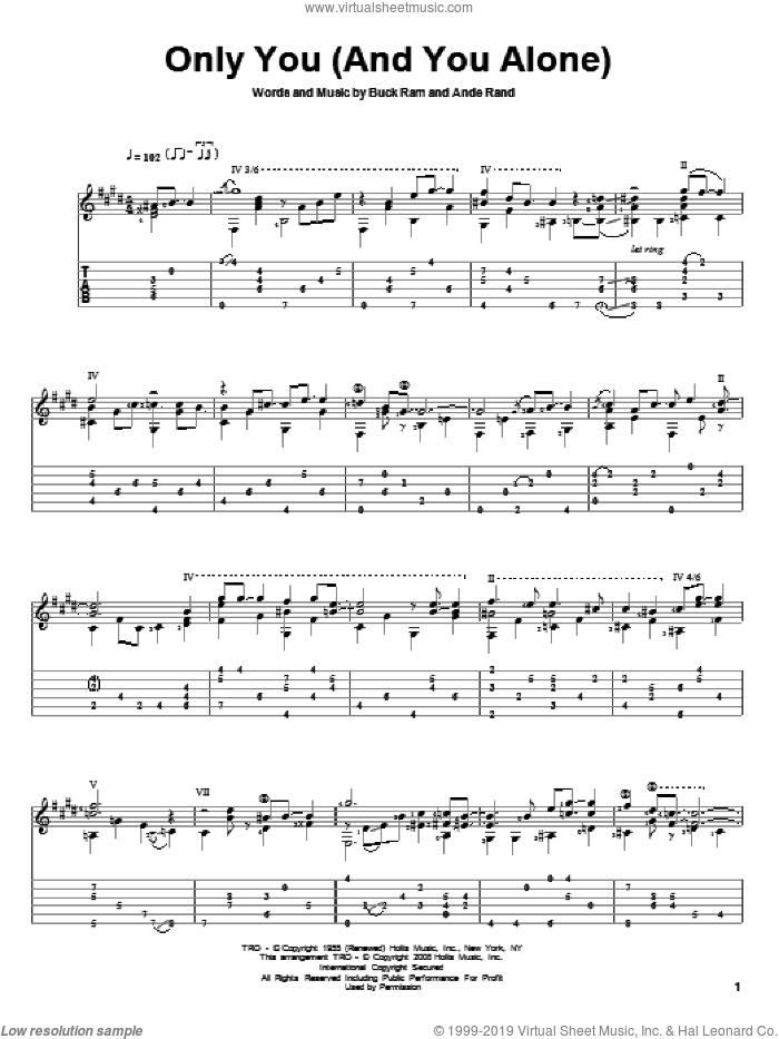 Only You (And You Alone) sheet music for guitar solo by The Platters, Ande Rand and Buck Ram, intermediate skill level