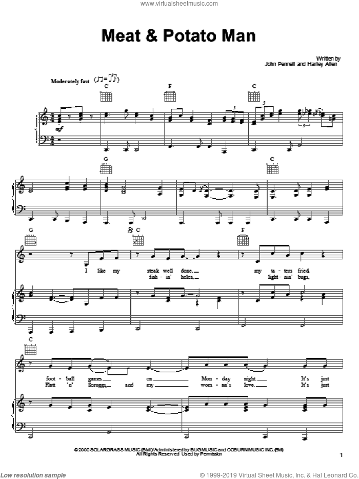 Meat and Potato Man sheet music for voice, piano or guitar by Alan Jackson, Harley Allen and John Pennell, intermediate skill level