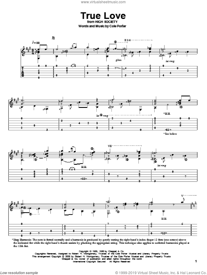 True Love sheet music for guitar solo by Bing Crosby, Elvis Presley and Cole Porter, wedding score, intermediate skill level