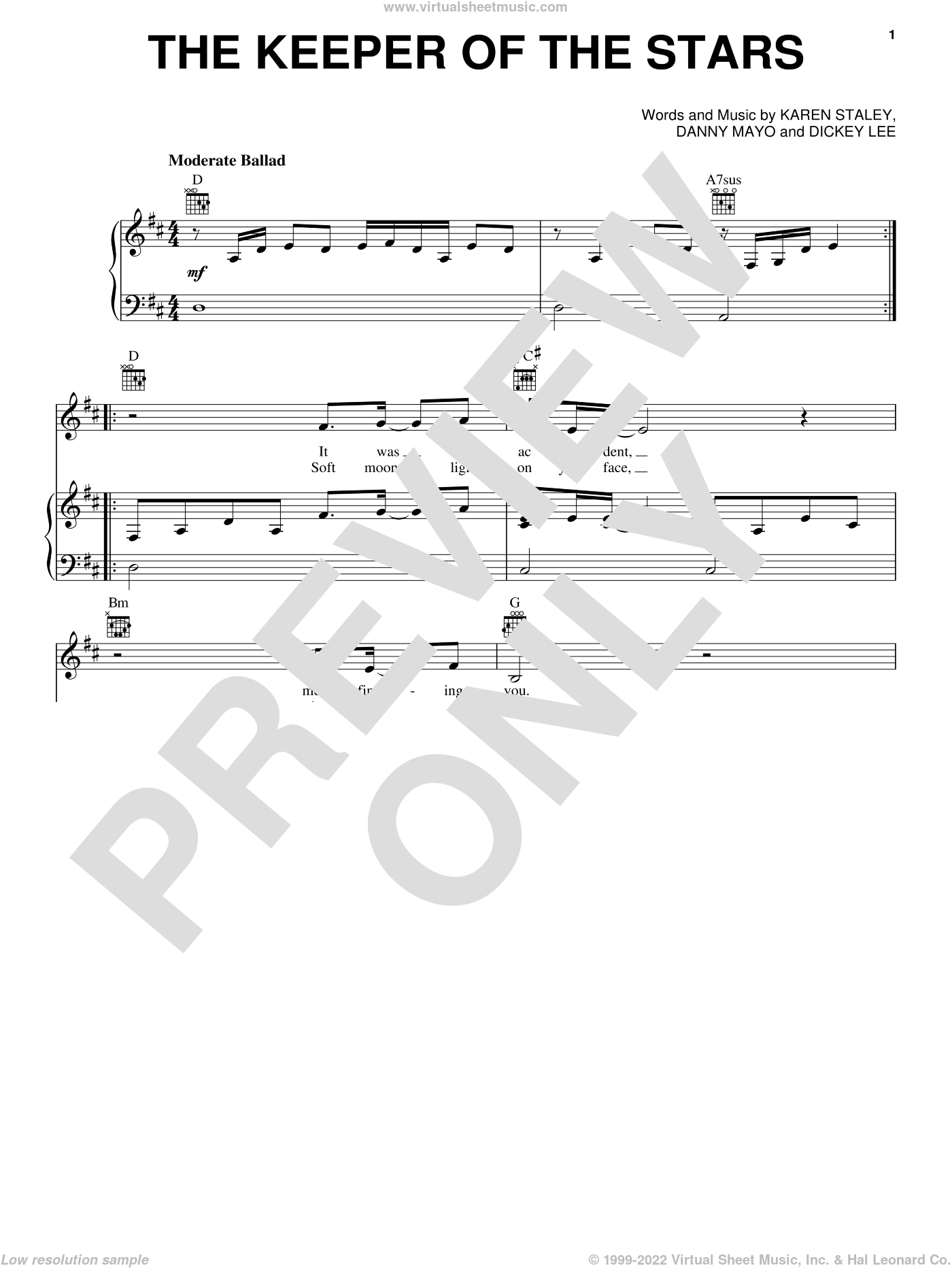 The Keeper Of The Stars sheet music for voice, piano or guitar by Tracy Byrd, Danny Mayo, Dickey Lee and Karen Staley, wedding score, intermediate skill level