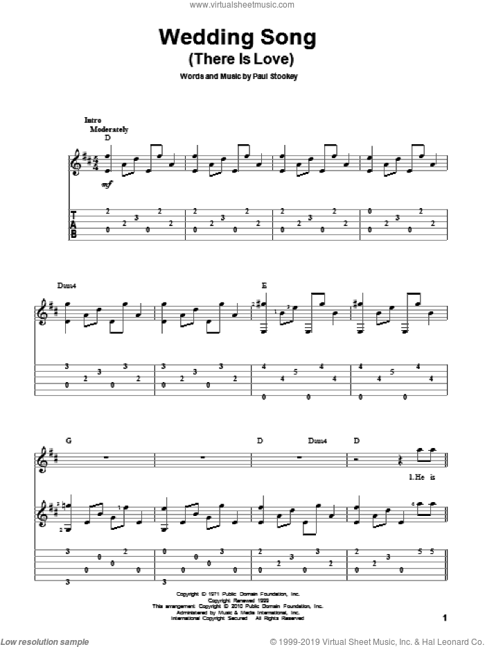 Wedding Song (There Is Love) sheet music for guitar solo by Peter, Paul & Mary, Petula Clark and Paul Stookey, wedding score, intermediate skill level