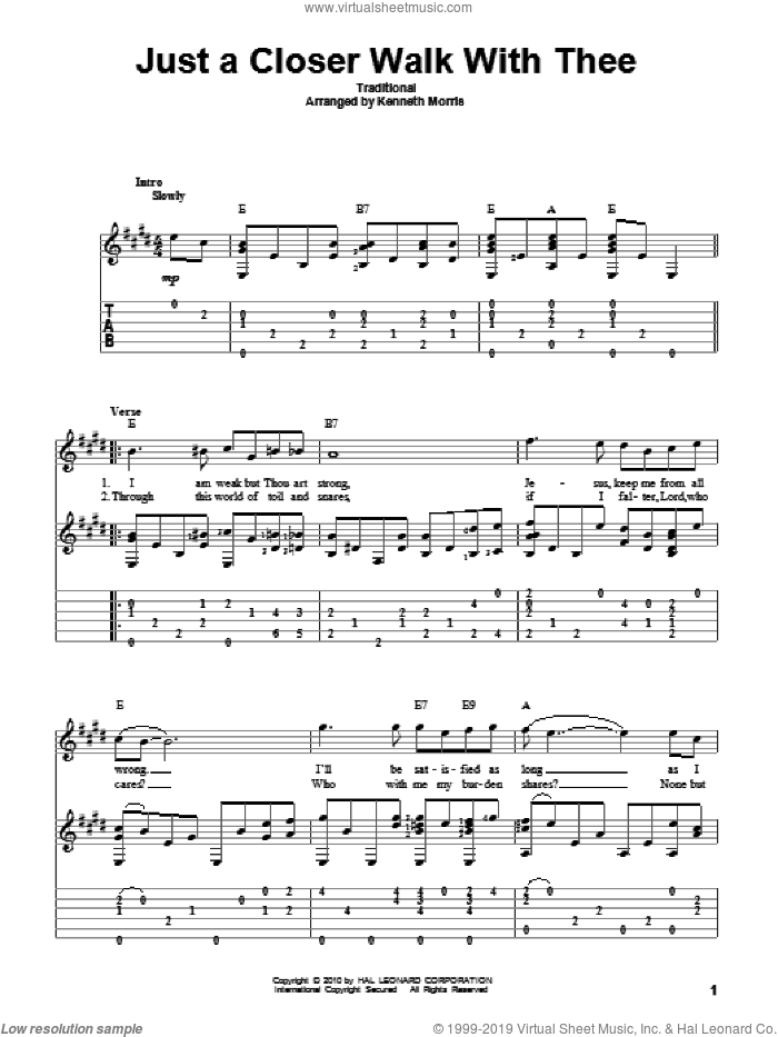 Just A Closer Walk With Thee sheet music for guitar solo by Kenneth Morris and Miscellaneous, intermediate skill level