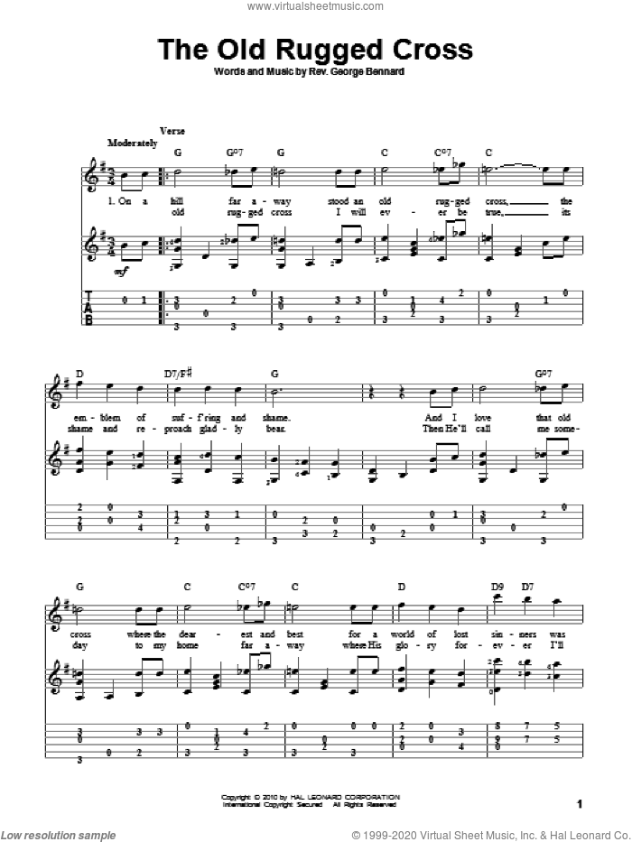 The Old Rugged Cross sheet music for guitar solo by Rev. George Bennard. Score Image Preview.