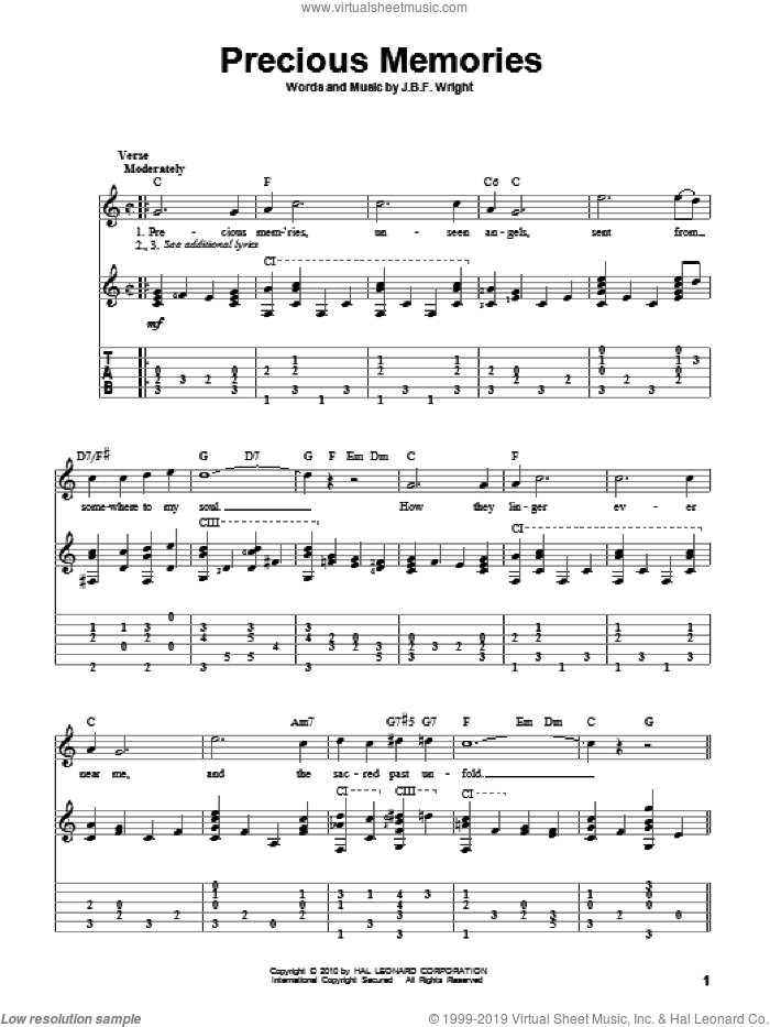 Precious Memories sheet music for guitar solo by J.B.F. Wright. Score Image Preview.