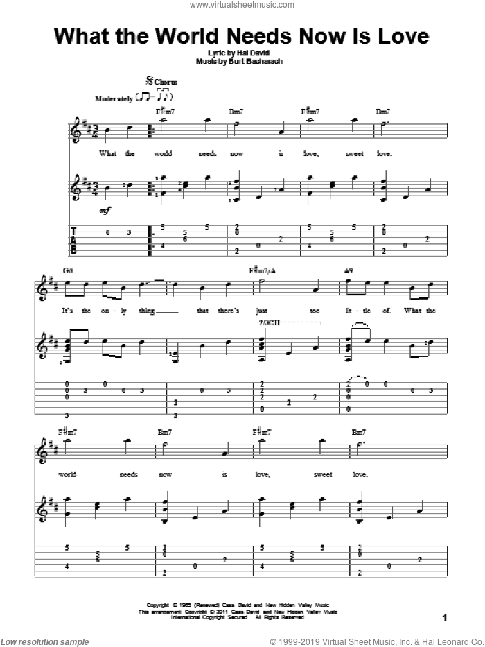 What The World Needs Now Is Love sheet music for guitar solo by Bacharach & David, Jackie DeShannon, Burt Bacharach and Hal David, intermediate skill level