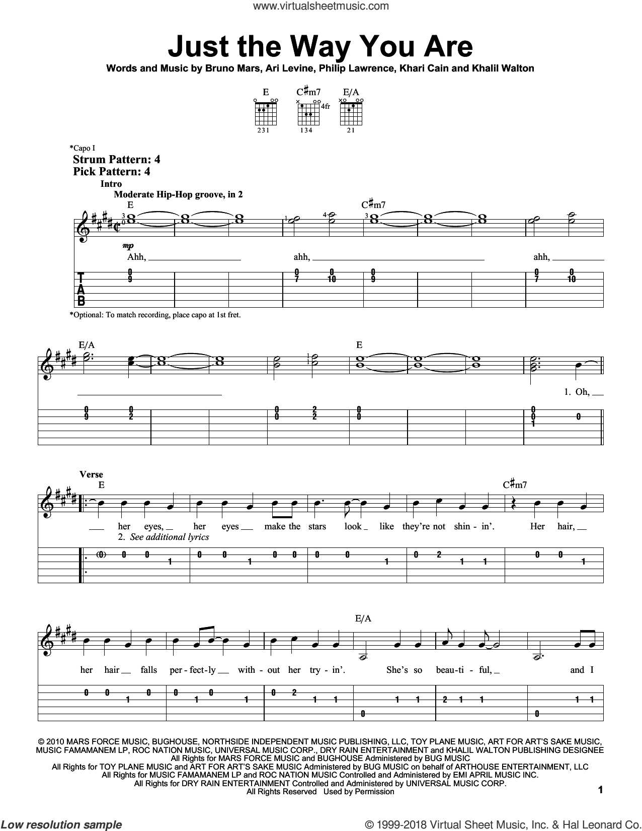 Just The Way You Are sheet music for guitar solo (easy tablature) by Bruno Mars, Ari Levine, Khalil Walton, Khari Cain and Philip Lawrence, easy guitar (easy tablature)