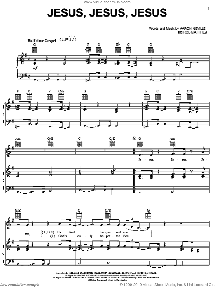 Jesus, Jesus, Jesus sheet music for voice, piano or guitar by Robert Mathes