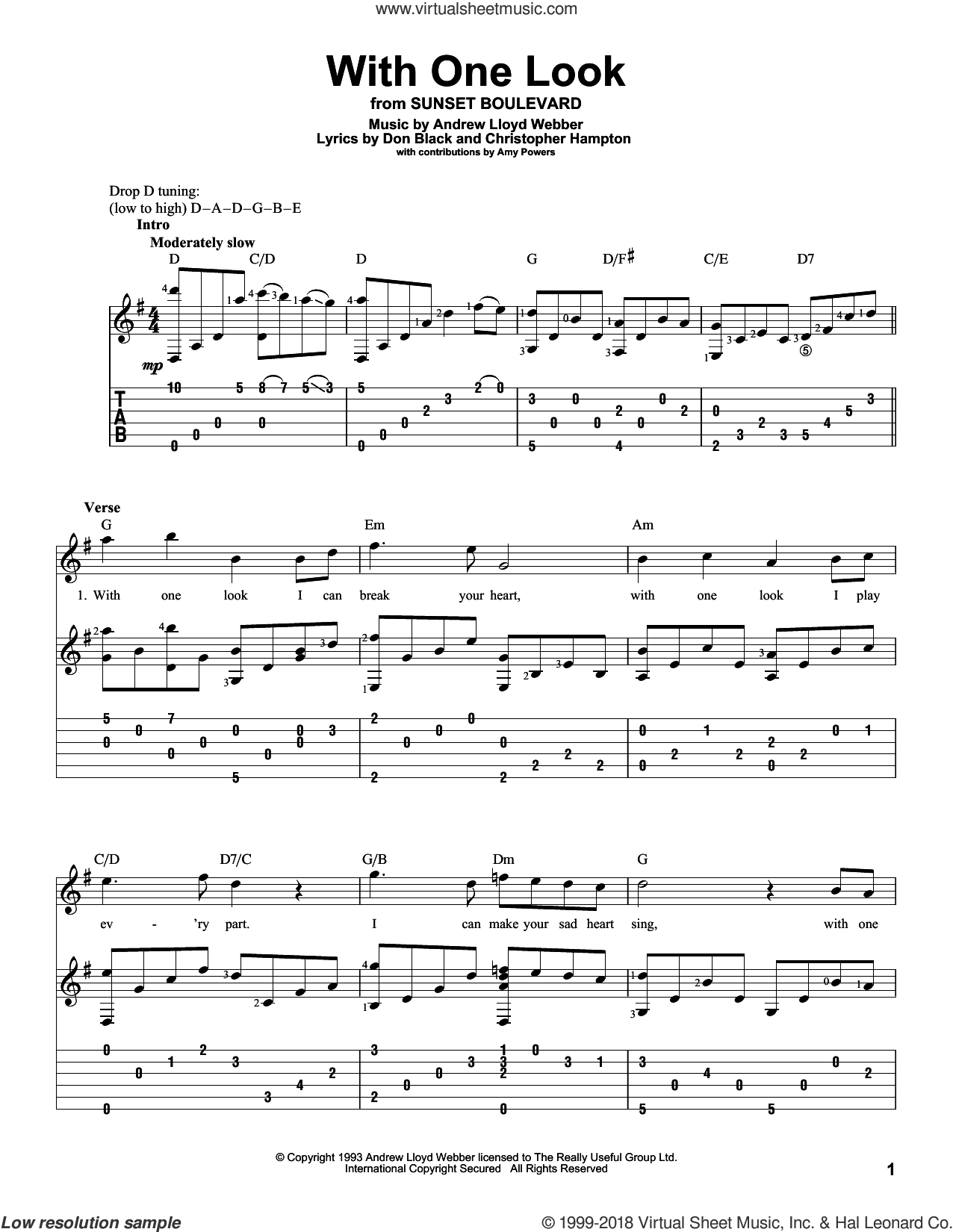 With One Look sheet music for guitar solo by Andrew Lloyd Webber and Don Black, intermediate guitar. Score Image Preview.