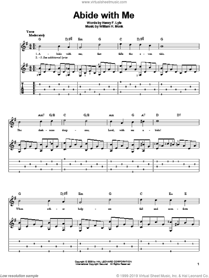 Abide With Me sheet music for guitar solo by Henry F. Lyte and William Henry Monk, intermediate skill level