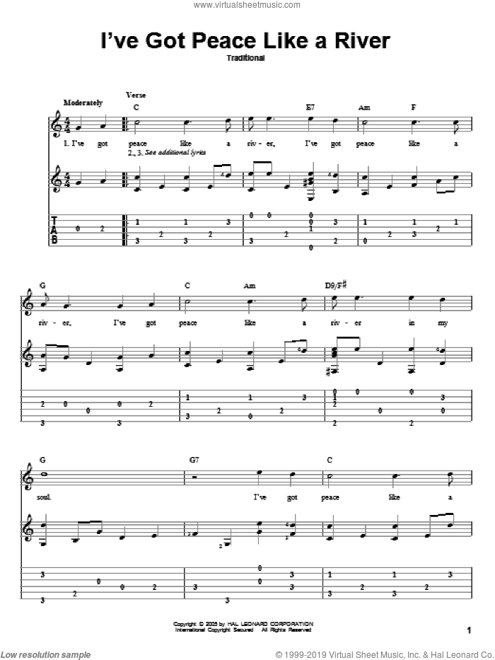 I've Got Peace Like A River sheet music for guitar solo, intermediate skill level