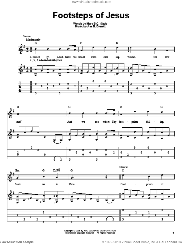 Footsteps Of Jesus sheet music for guitar solo by Asa B. Everett and Mary B.C. Slade. Score Image Preview.