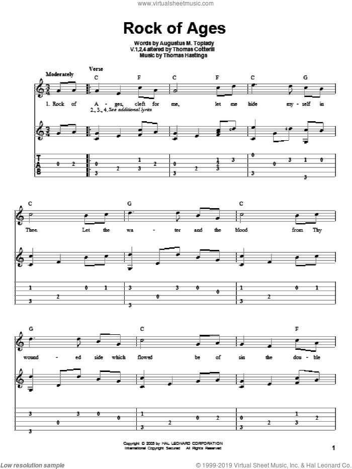 Rock Of Ages sheet music for guitar solo by Thomas Hastings and Augustus M. Toplady. Score Image Preview.