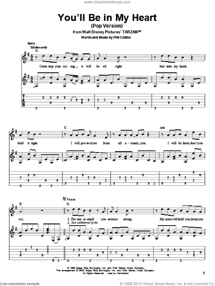 You'll Be In My Heart sheet music for guitar solo by Phil Collins, intermediate skill level
