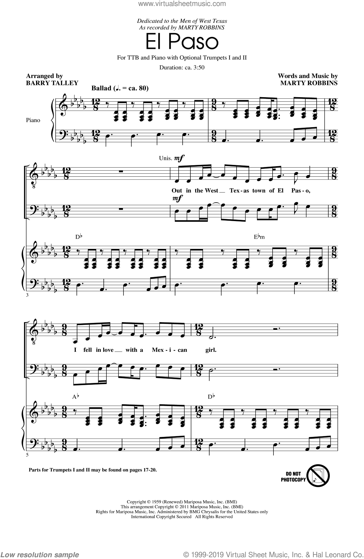 El Paso sheet music for choir and piano (TTBB) by Barry Talley